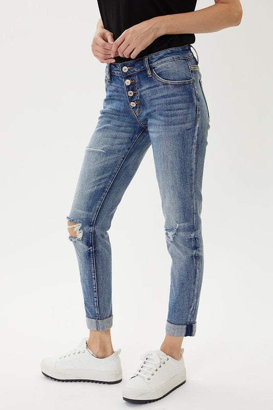 Benny Mid Rise Girlfriend Jeans - KanCan