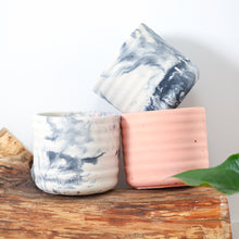 Load image into gallery, 6 inch concrete pot trio. two black and white marbled and one terracotta. mimipots