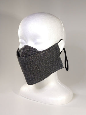 Organic Cotton Quilted Mask - Charcoal Shimmer