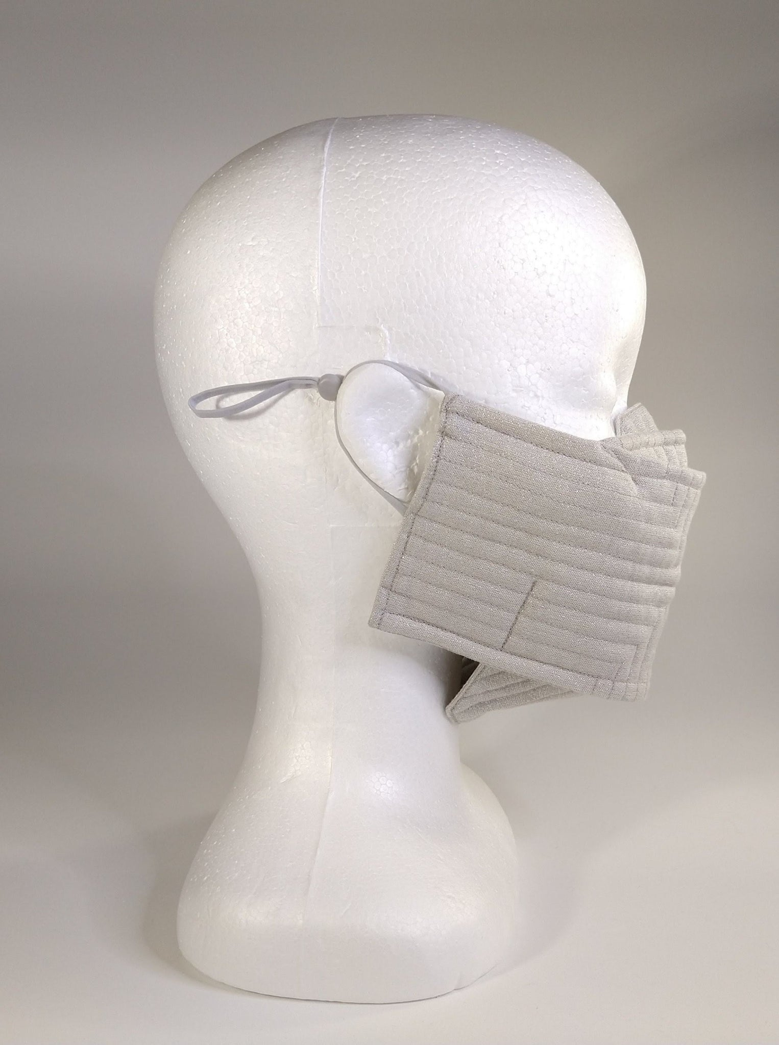 Organic Cotton Quilted Mask - Silver Shimmer