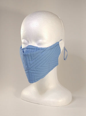 Organic Cotton Quilted Mask - Sky Blue