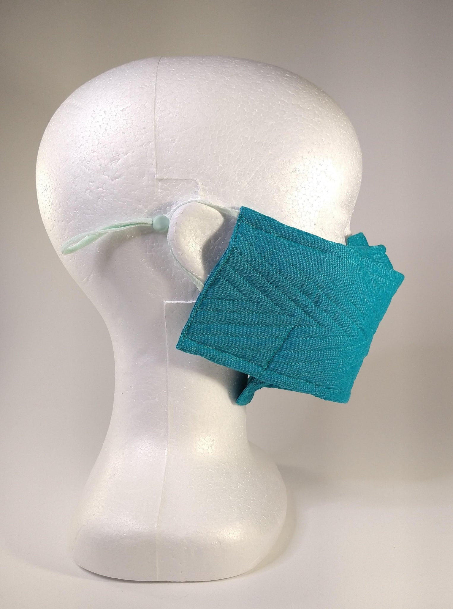 Organic Cotton Quilted Mask - Turquoise
