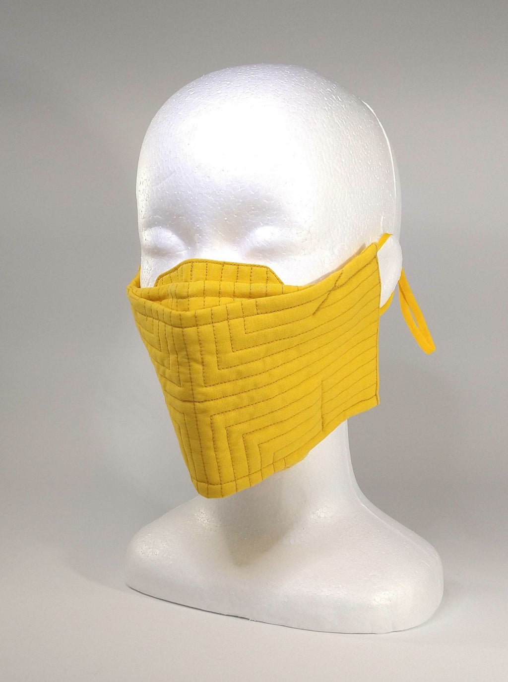 Organic Cotton Quilted Mask - Yellow