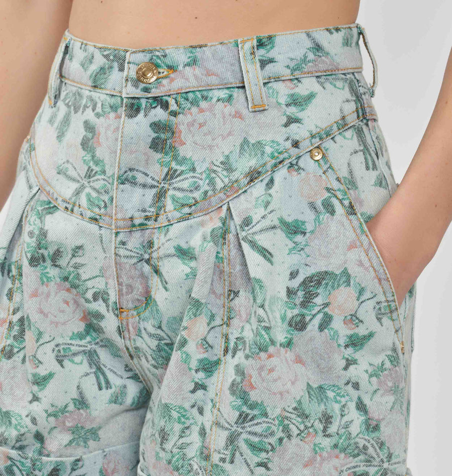 FLORAL 80'S DENIM SHORTS