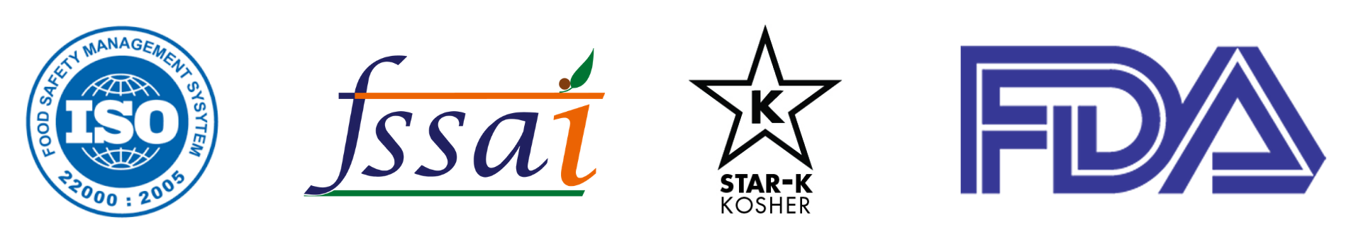 Indira Foods Manufacturing Facilities Certifications ISO 22000:2005, FSSAI, Star-K Kosher Certified, US FDA Whitelisted