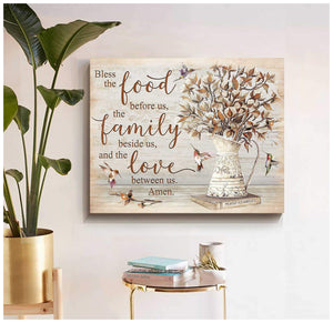 Top #11 - Bless the food before us Cotton Flowers and Hummingbird Farmhouse Farm Canvas Wall Art Decor