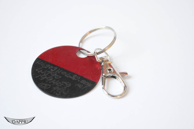 Red and Black Part Tag Key Ring