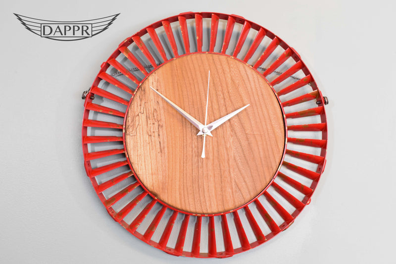 Red and Gold Stage 4 Vane Ring Elm Clock