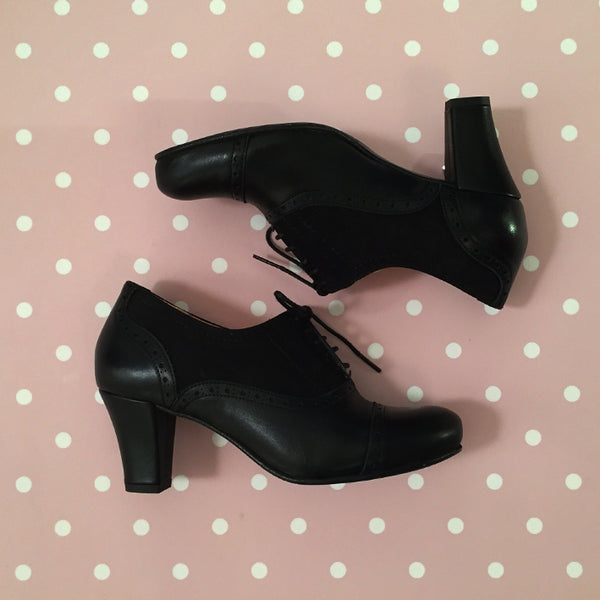 Marie Louise | Black Leather and Nubuck