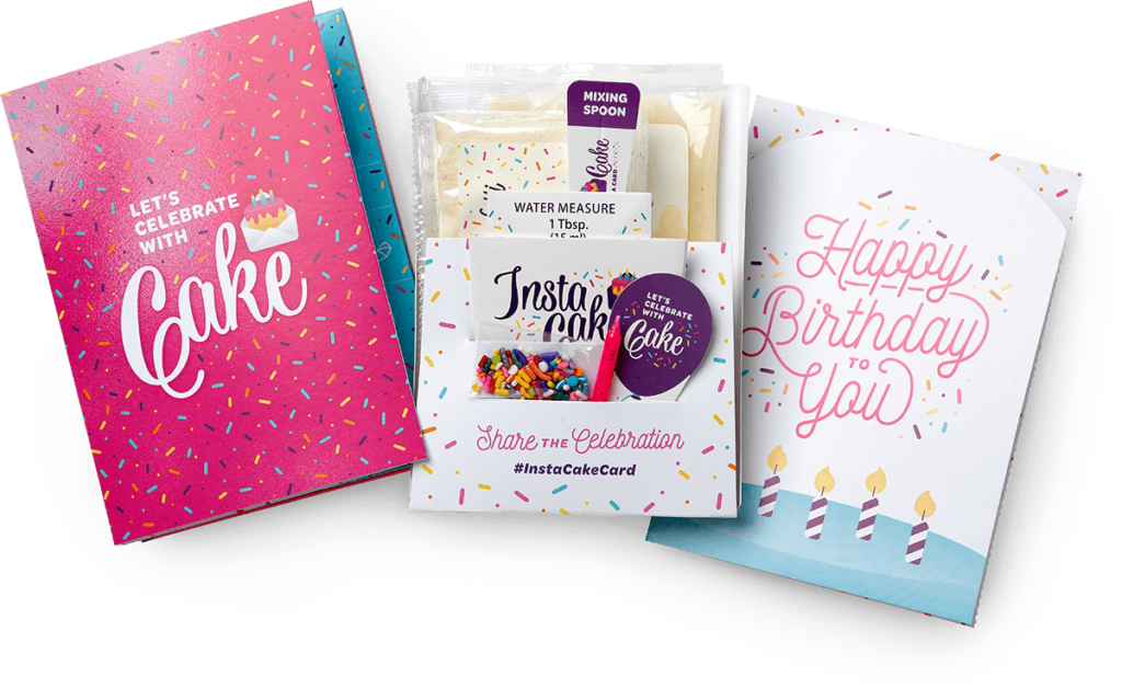 InstaCake Cards - Happy Birthday Card VANILLA - Pink