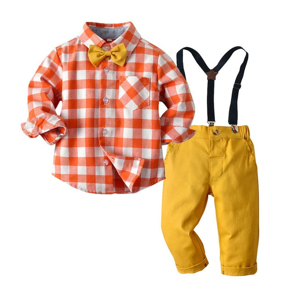 Orange White Plaid Boy Formal Clothes Baby Wedding Dress