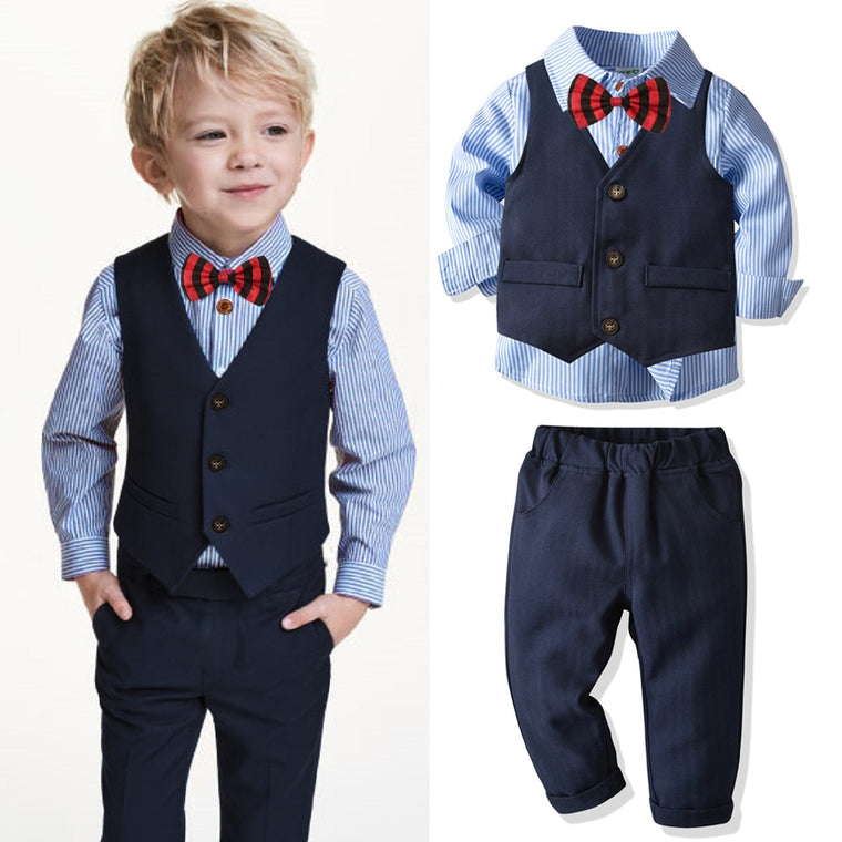 4pcs Boys Suits Baby Striped Shirt
