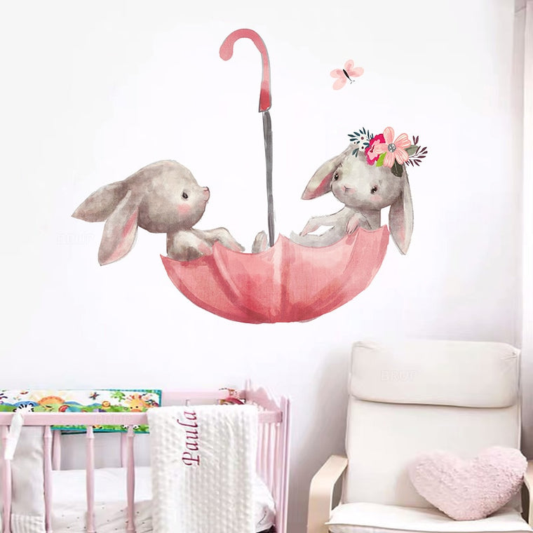 Cute Grey Bunny Ballet Rabbit Wall Stickers