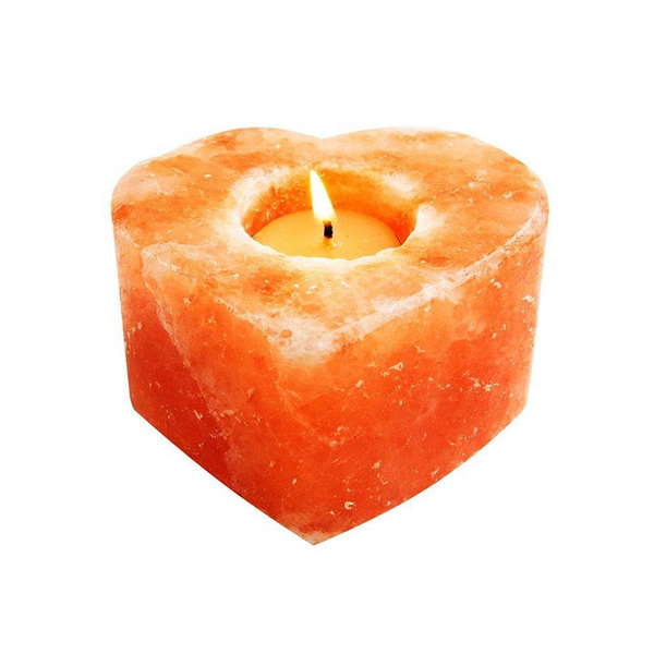 Hand Crafted Heart Himalayan Salt Candle Holder