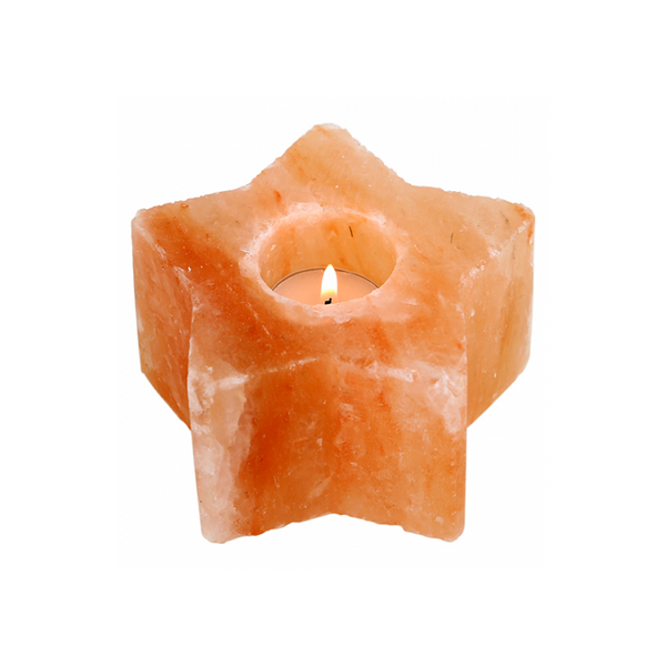 Hand Crafted Star Himalayan Salt Candle Holder