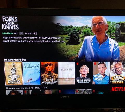 Picture of tv showing health documentaries