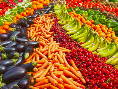 rows of colourful fruit and vegetables