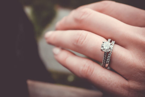 Woman's hand with wedding ring