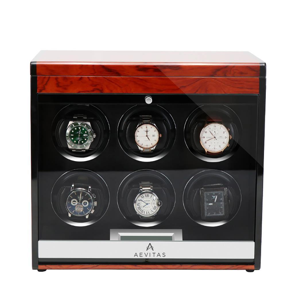 Aevitas Watch Winder for Six Automatic Watches in Mahogany Finish