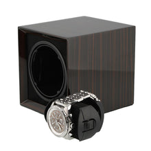 Load image into Gallery viewer, Macassar Wood Watch Winder for 1 Watch with Rechargeable Battery by Aevitas