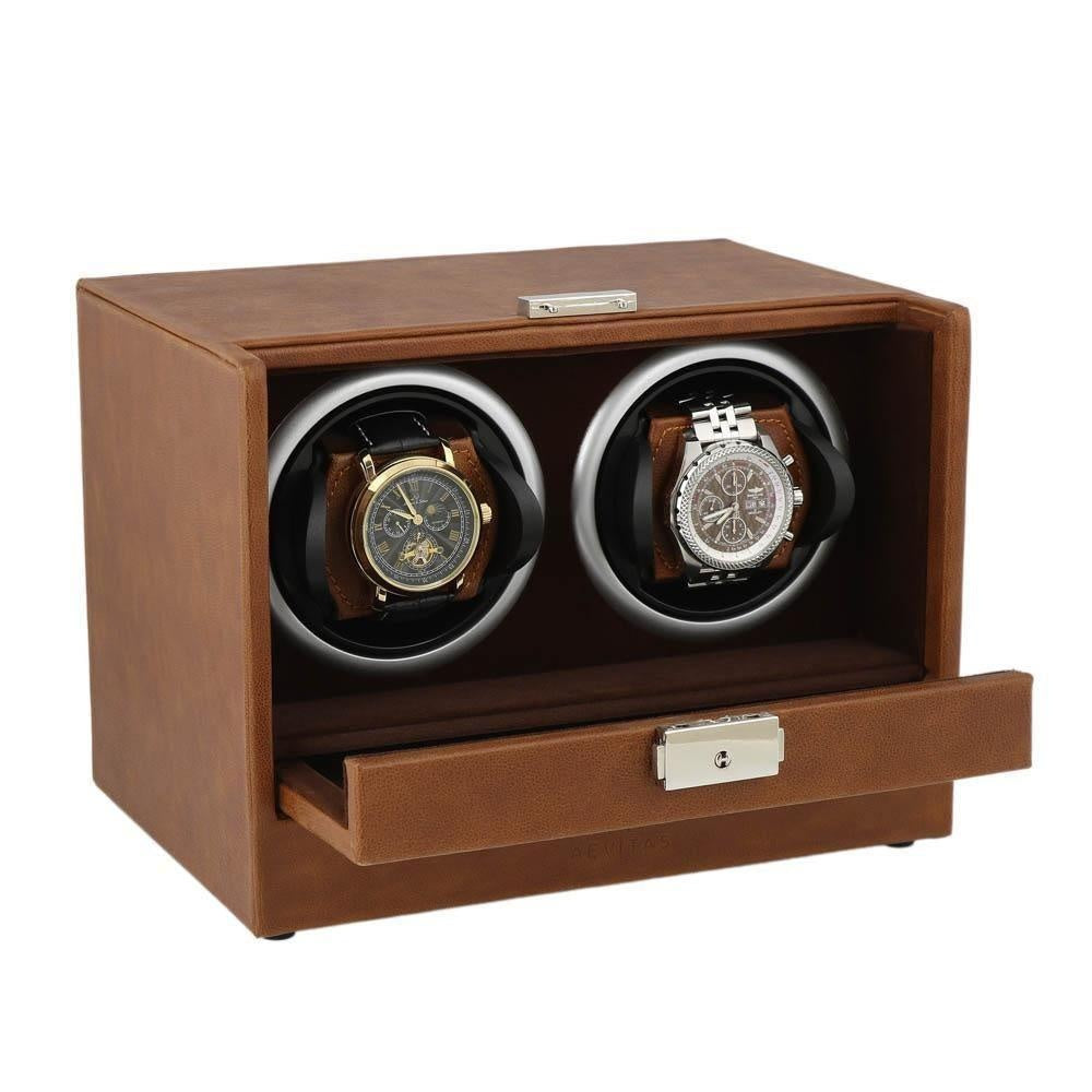 Cognac Brown Genuine Leather Dual Watch Winder - Slide Away Door - Deep Brown Velvet Lining by Aevitas