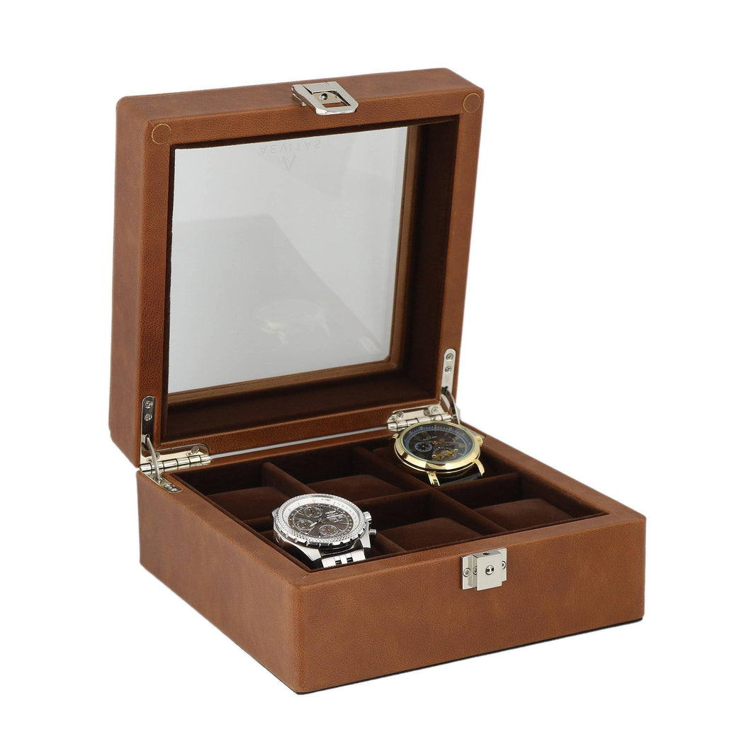 Cognac Brown Genuine Leather Watch Collectors Box for 6 Wrist Watches by Aevitas