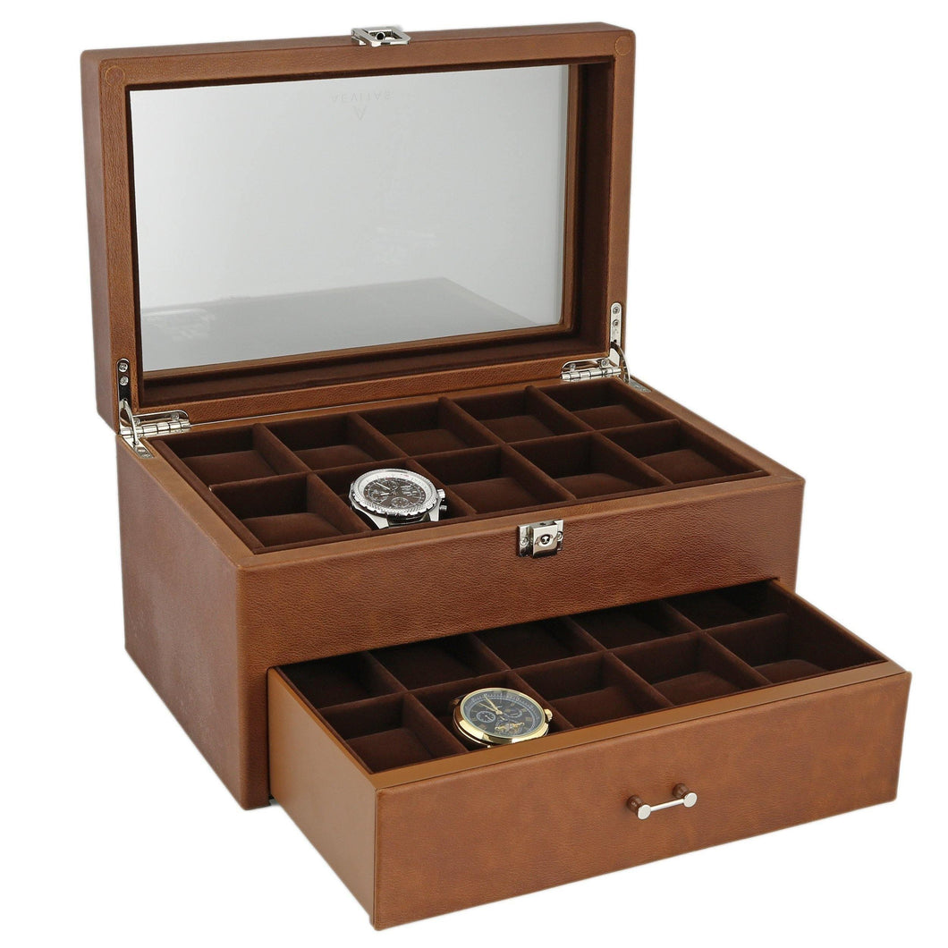 Cognac Brown Genuine Leather Watch Collectors Box with Drawer for 20 Wrist watches by Aevitas