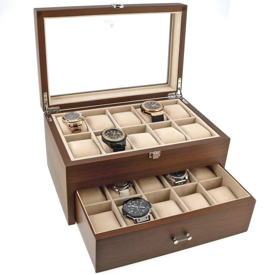 Natural Walnut Wooden Watch Collectors Box for 20 Watches by Aevitas