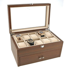 Load image into Gallery viewer, Natural Walnut Wooden Watch Collectors Box for 20 Watches by Aevitas