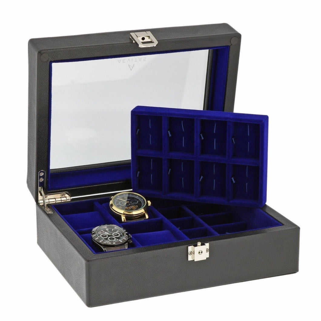 16 Pair Cufflinks and 4 Piece Watch Collectors Box in Black Leather Wood by Aevitas