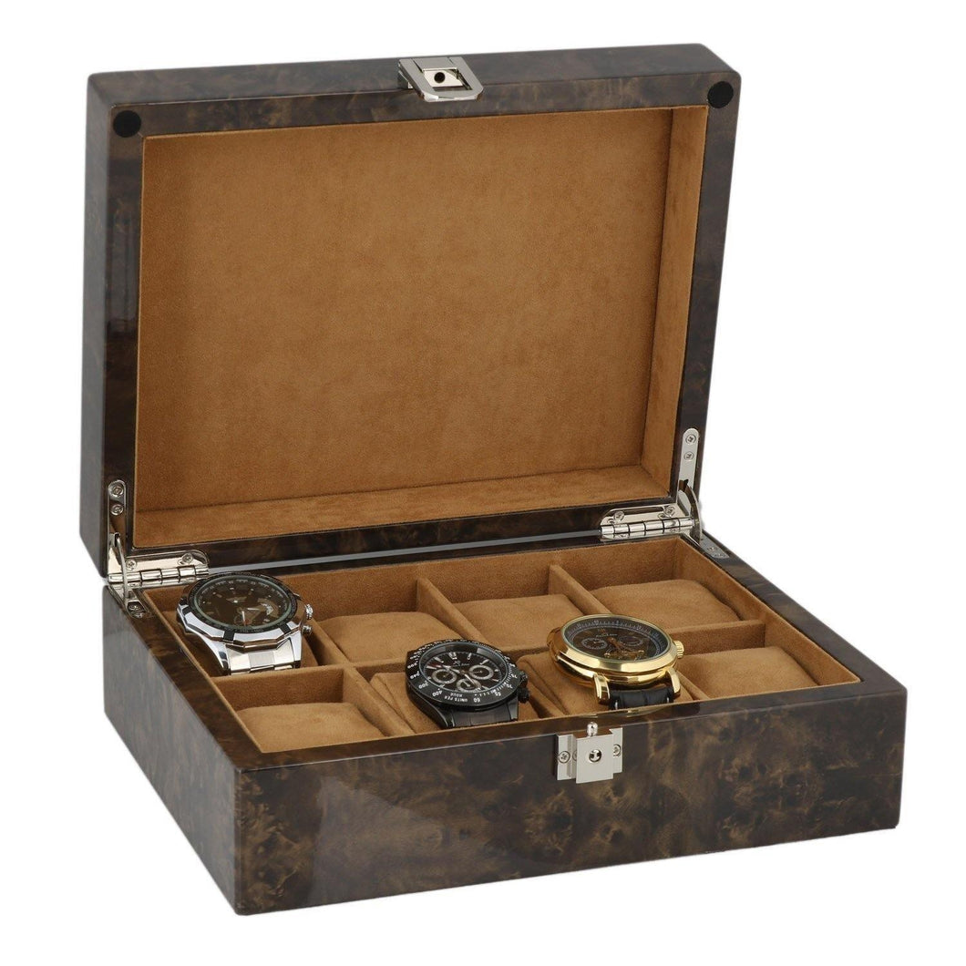 Watch Collectors Box for 8 Wrist Watches in Dark Burl Wood with Solid Lid by Aevitas