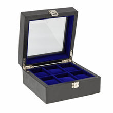 Load image into Gallery viewer, Black Genuine Leather Watch Collectors Box for 6 Wrist Watches Royal Blue Velvet Lining by Aevitas