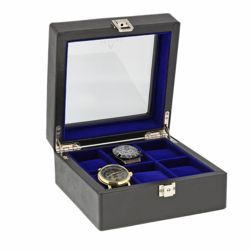 Black Genuine Leather Watch Collectors Box for 6 Wrist Watches Royal Blue Velvet Lining by Aevitas