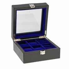Load image into Gallery viewer, Black Genuine Leather 4 Watch + 4 Pair Cufflink Collectors Box Royal Blue Velvet Lining by Aevitas