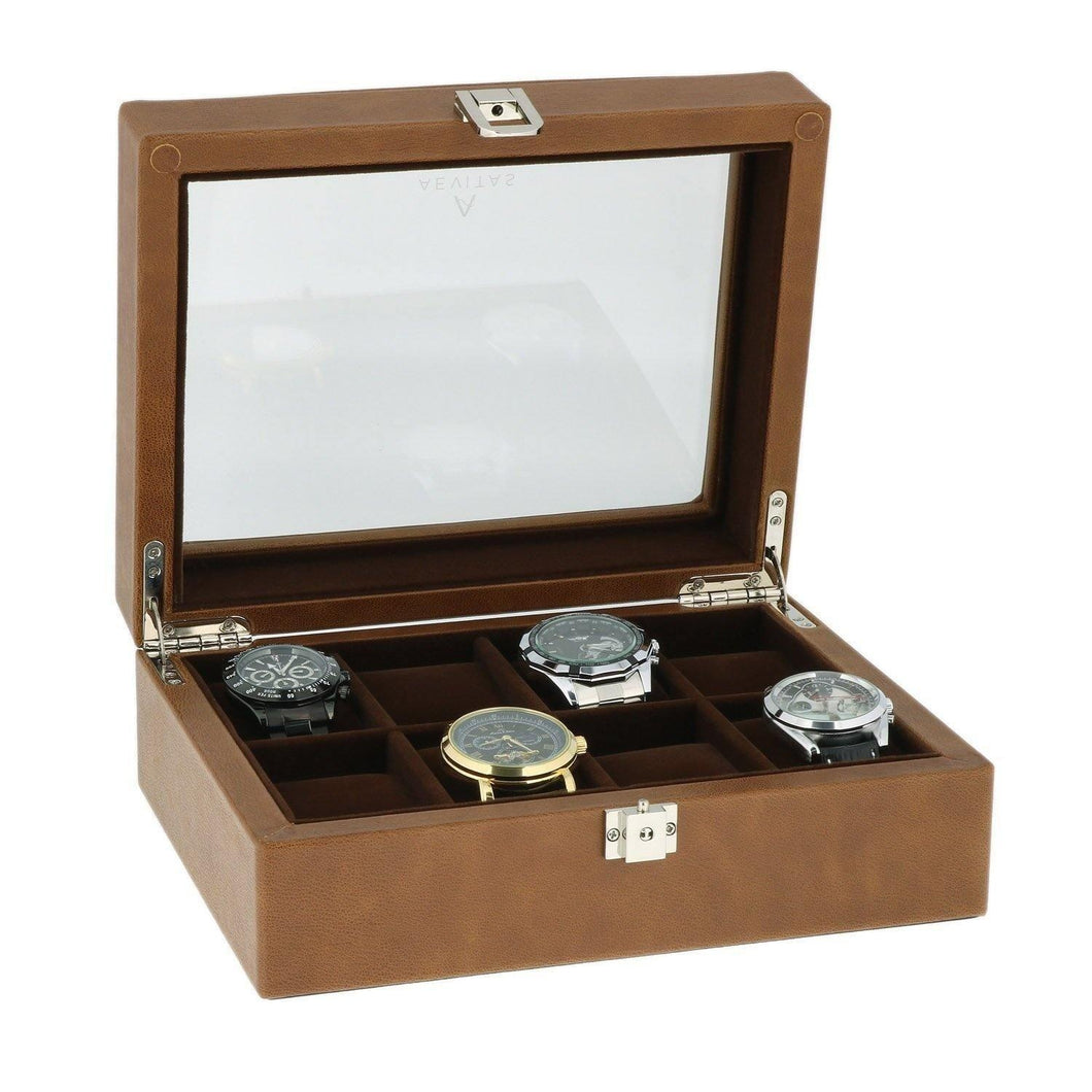 Cognac Brown Genuine Leather Watch Collectors Box for 8 Wrist Watches Velvet Lining by Aevitas