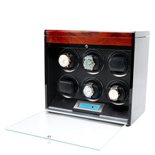Load image into Gallery viewer, Aevitas Watch Winder for Six Automatic Watches in Mahogany Finish