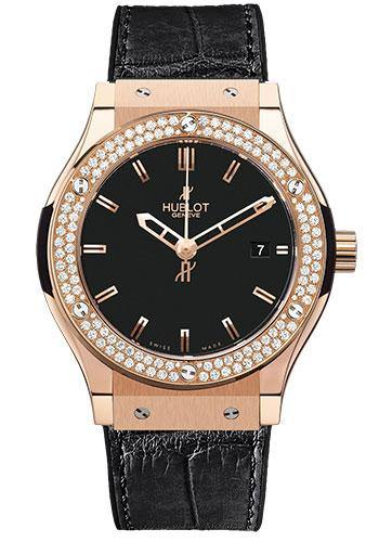 Hublot Classic Fusion Rose Gold with Diamond Bezel On Black Crocodile Strap 561.PX.1180.LR.1104
