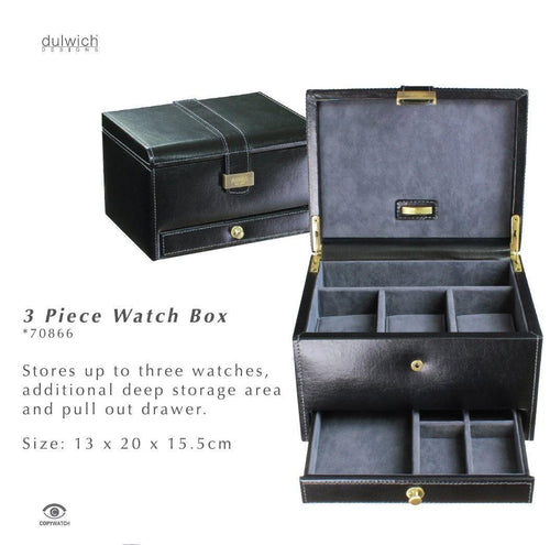 Dulwich Designs Heritage 3 Watch and Cufflink Box Black 70866