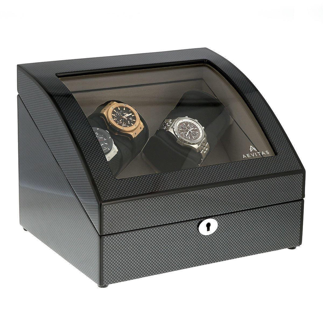 Carbon Fibre Quad Watch Winder with Storage for 4 Automatic Watches by Aevitas