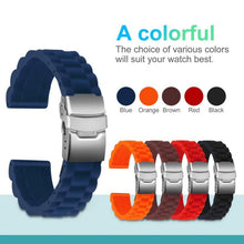 Load image into Gallery viewer, Ullchro Silicone Watch Strap Replacement Rubber Band Waterproof Link Pattern - 1