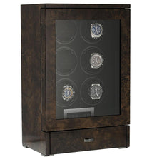 Load image into Gallery viewer, Watch Winder for 6 Automatic Watches Dark Burl Wood Finish the Tower Series by Aevitas