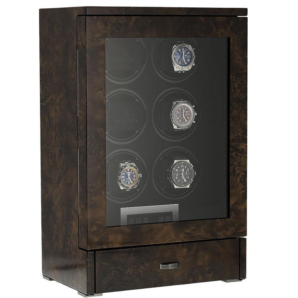 Watch Winder for 6 Automatic Watches Dark Burl Wood Finish the Tower Series by Aevitas