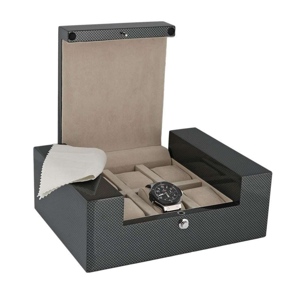 High Quality Watch Collectors Box for 6 Watches with Carbon Fibre Veneer High Gloss Finish the Fortis Collection by Aevitas
