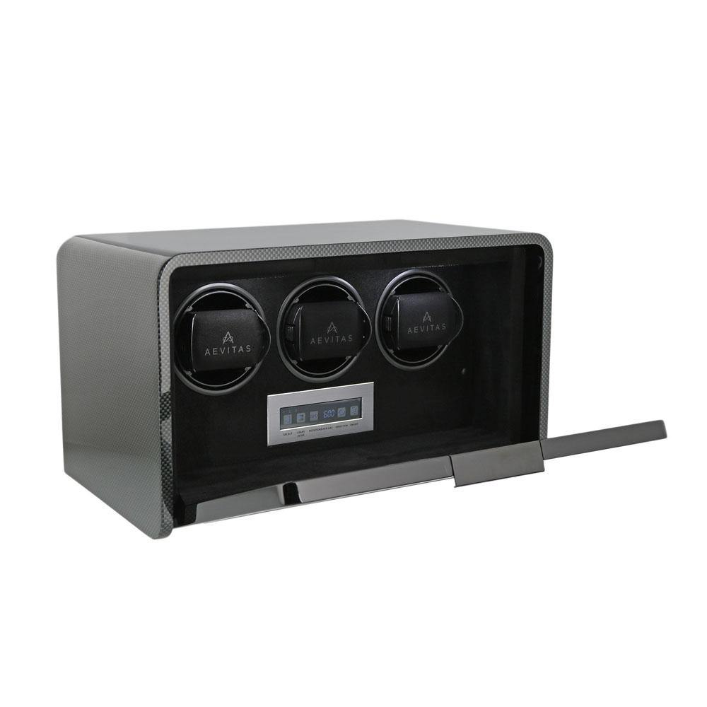 Watch Winder for 3 Automatic Watches Carbon Fibre Finish the Premier Collection V2 by Aevitas