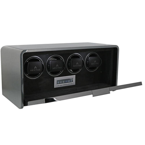 Watch Winder for 4 Automatic Watches Carbon Fibre Finish the Premier Collection V2 by Aevitas