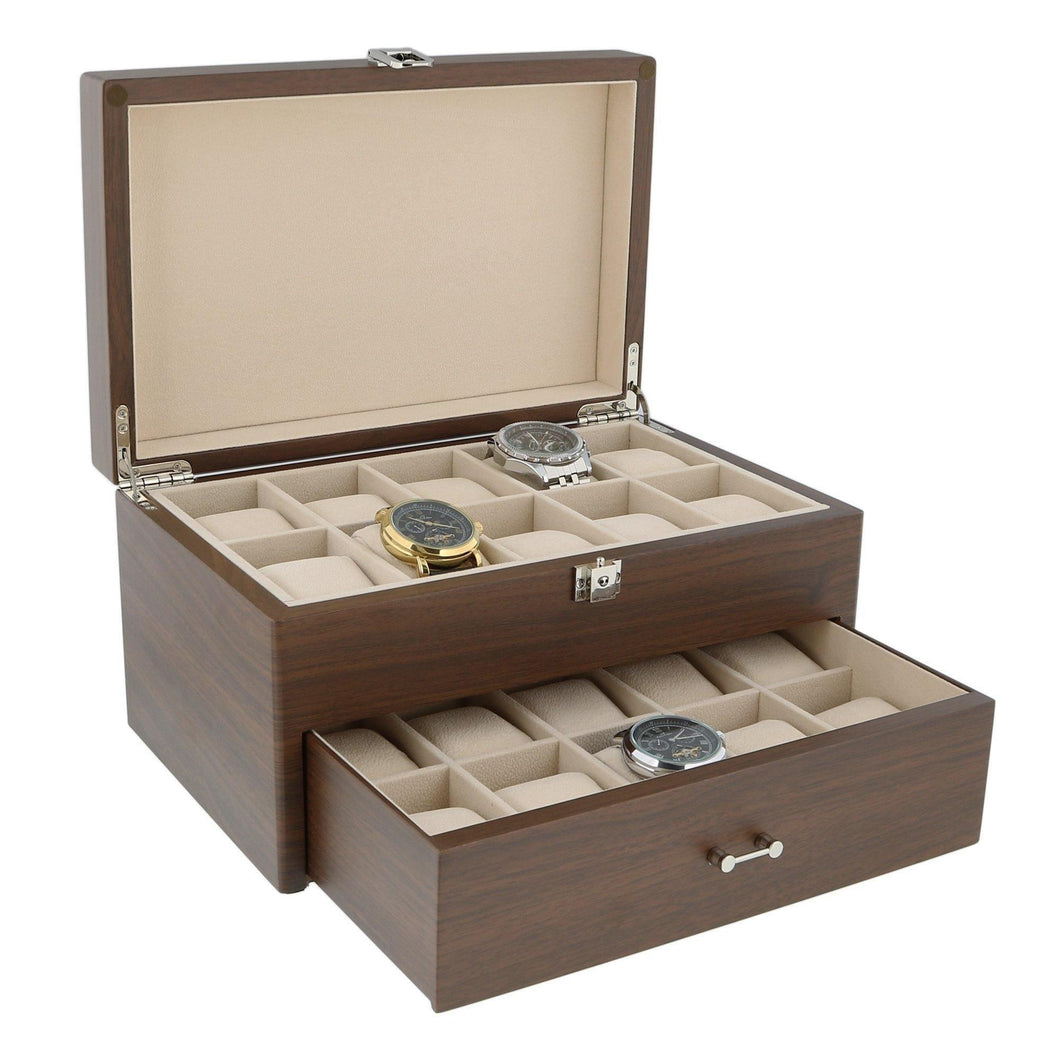 Natural Walnut Wooden Watch Box With Solid Lid for 20 Watches by Aevitas