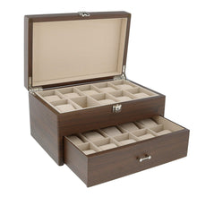 Load image into Gallery viewer, Natural Walnut Wooden Watch Box With Solid Lid for 20 Watches by Aevitas