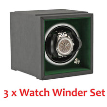 Load image into Gallery viewer, Modular Stacking Watch Winder by Aevitas - Larger Watch Version - Rolex Green Set of 3