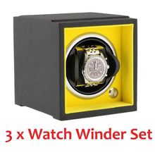 Load image into Gallery viewer, Modular Stacking Watch Winder by Aevitas - Larger Watch Version - Yellow Set of 3