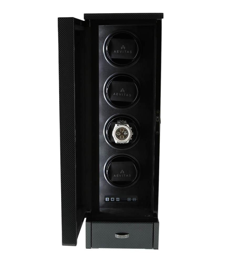 Watch Winder for 4 Automatic Watches Carbon Fibre Finish the Tower Series by Aevitas